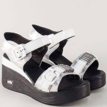 Дамски сандали на платформа в сребро и бяло  n420sr