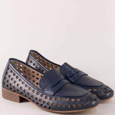 Перфорирани дамски обувки от естесвена кожа в син цвят n424s