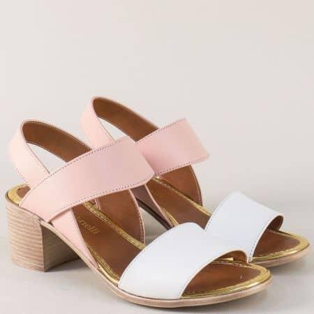 Кожени дамски сандали на среден ток в розово и бяло n451brz