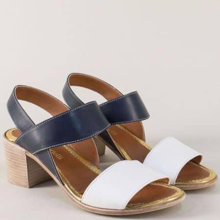 Кожени дамски сандали в синьо и бяло на среден ток n451bs