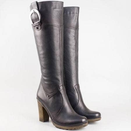 Модерни дамски ботуши от естествена кожа в черен цвят с цип и катарама n501ch