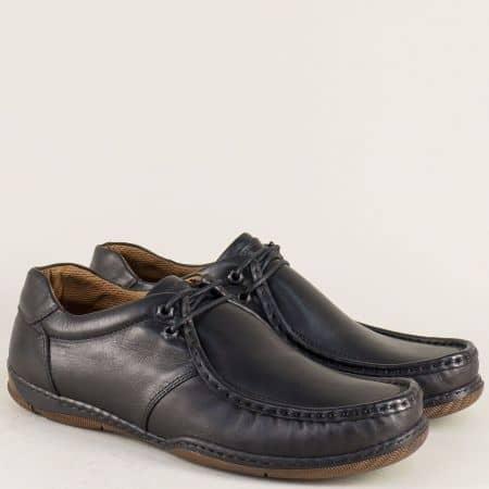 Шити мъжки обувки от естествена кожа в черен цвят n50ch