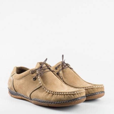 Равни мъжки обувки от естествен набук в бежов цвят n50nbj