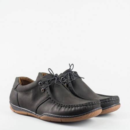 Шити мъжки обувки, тип мокасина с връзки в черен цвят n50nch