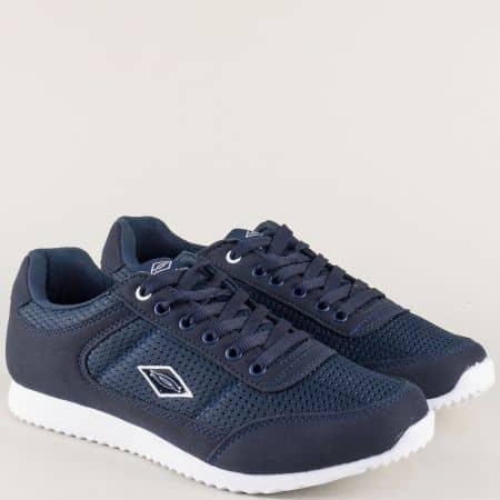 Тъмно сини мъжки маратонки на бяло ходило n513s