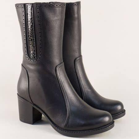 Черни дамски боти от естествена кожа на среден ток  n528ch