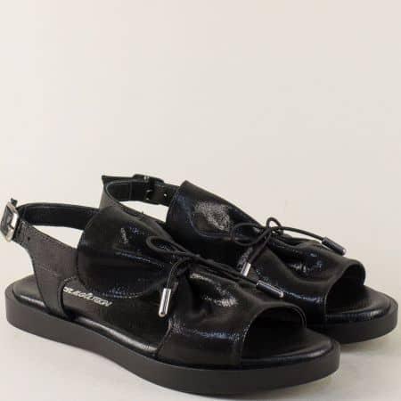 Черни дамски сандали от сатен и естествена кожа n592sch