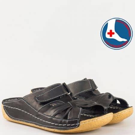 Дамски чехли за всеки ден произведени от 100% естествена кожа на комфортно ходило в черен цвят n620ch