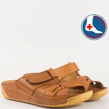 Дамски чехли за всеки ден произведени от 100% висококачествена естествена кожа в кафяв цвят n620k
