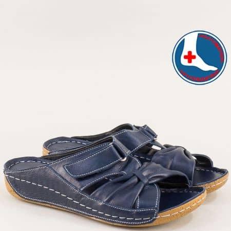 Анатомични дамски чехли на шито ходило в син цвят n620s