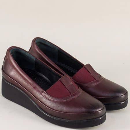 Дамски обувки в цвят бордо с ластик и кожена стелка n637bd