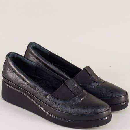 Дамски обувки на клин ходило от черна естествена кожа n637ch