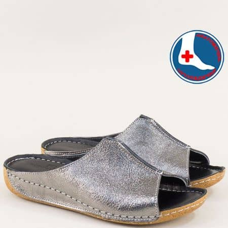 Бронзиви дамски чехли с кожена ортопедична стелка n640brz