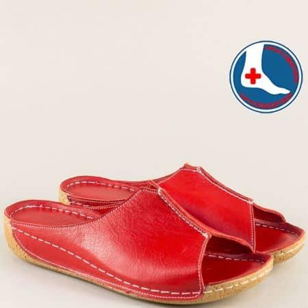 Червени дамски чехли на анатомично, шито ходило n640chv