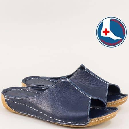 Тъмно сини дамски чехли на анатомично, шито ходило n640s