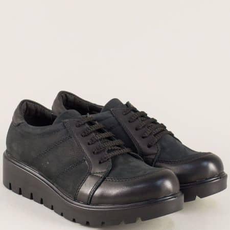 Черни дамски обувки с връзки от естествен набук и кожа n700nch