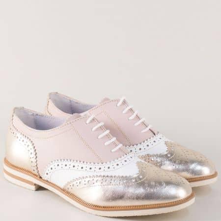 Кожени дамски обувки с връзки в бяло, розово и златно n741zl