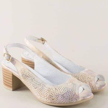 Бежови дамски сандали от естествена кожа на среден ток n803bjps