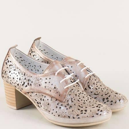 Дамски обувки от естествена кожа в сиво и розово  80855svrz