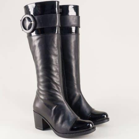 Кожени дамски ботуши в черен цвят на среден ток n80chlch