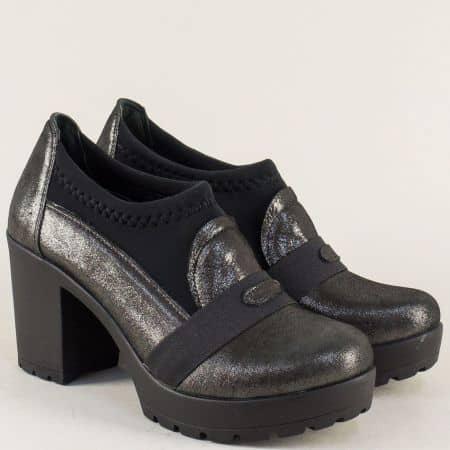 Дамски обувки от естествена кожа и стреч в черен цвят n85ch