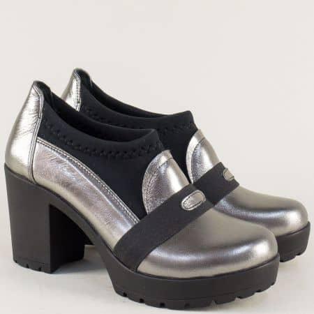 Сребърни дамски обувки от естествена кожа на висок ток n85sr