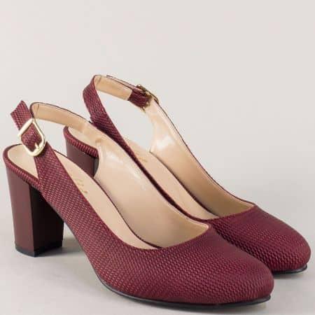 Дамски обувки с отворена пета и висок ток в цвят бордо n88bd