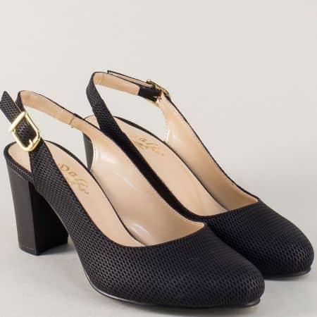 Черни дамски обувки с отворена пета и релефен принт n88ch