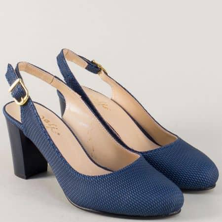 Сини дамски обувки на стабилен висок ток  n88s