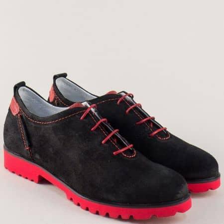 Велурени дамски обувки в червено и черно с връзки n902vch