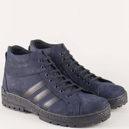 Мъжки шити обувки с грайфер и връзки от син естествен набук nn03ns