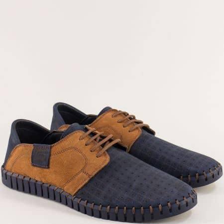 Мъжки обувки от естествен набук в синьо и кафяво nn06sk