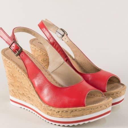 Червени дамски сандали Aeros на платформа от естествена кожа nn101chv
