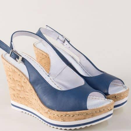 Сини дамски сандали от естествена кожа на платформа nn101s