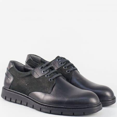 Мъжки равни обувки с връзки от черна естествена кожа и набук nn103ch