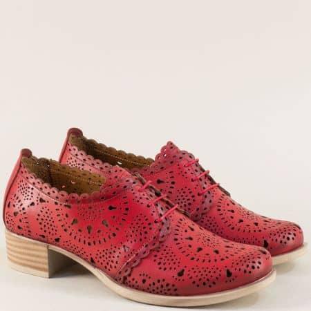 Естествена кожа дамска обувка в червен цвят на нисък ток nn105chv