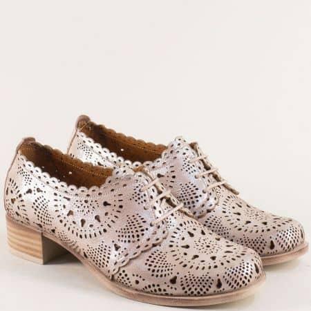 Бежови дамски обувки от естествена кожа и сатен nn105sbj