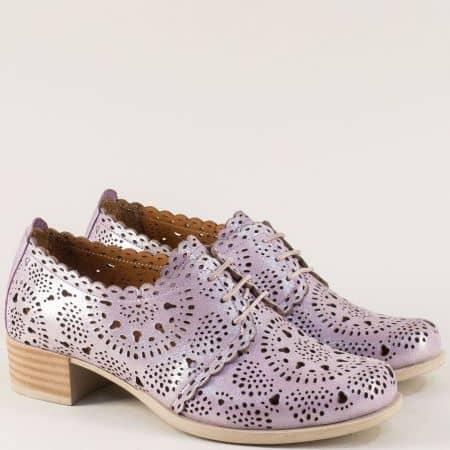 Лилави дамски обувки с връзки и кожена стелка nn105sl