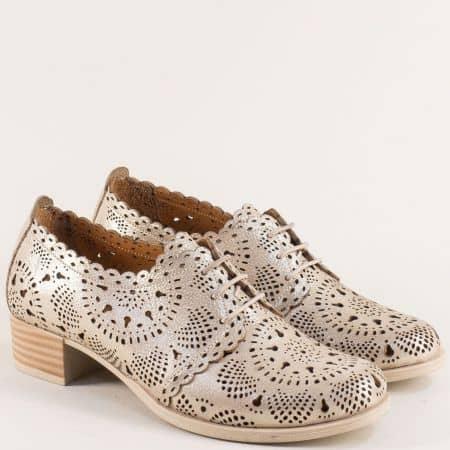 Златисти дамски обувки на нисък ток от естествена кожа nn105szl