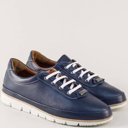 Тъмно сини дамски обувки с връзки и кожена стелка nn16s