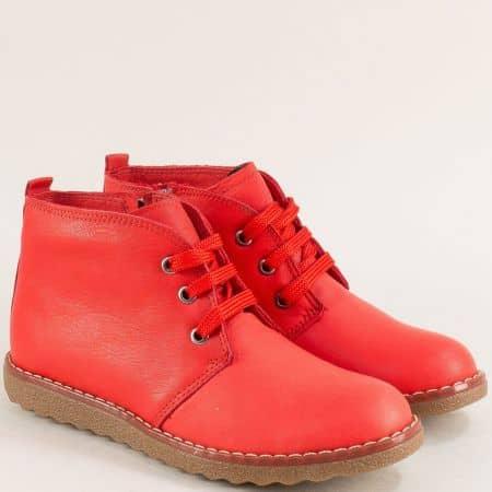 Червени дамски боти на равно ходило от естествена кожа  nn201chv