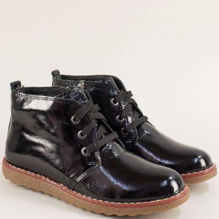 Черен естествен лак дамски обувки на каучуково ходило nn201lch