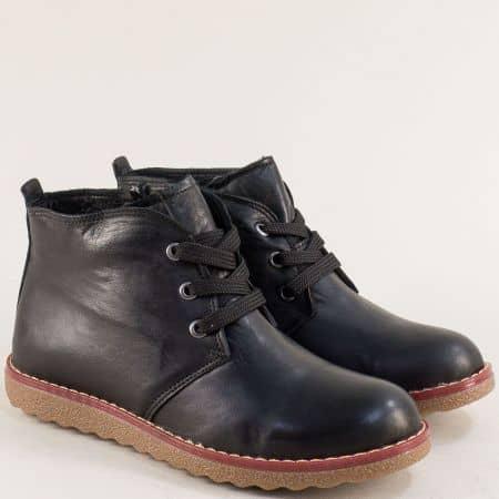 Зимни дамски обувки на равно ходило от естествена кожа nn201ch1