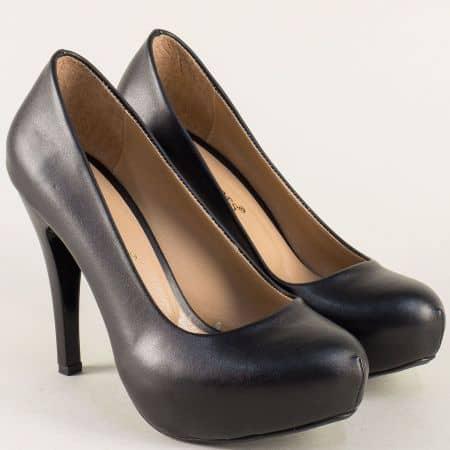 Черни дамски обувки на висок тънък ток nn500ch
