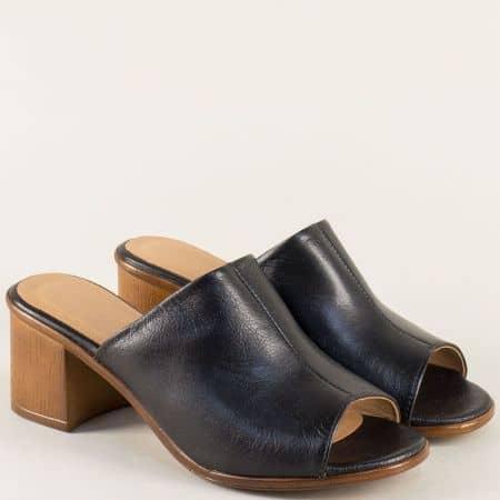 Дамски елегантни чехли от естествена кожа в черен цвят nn610ch