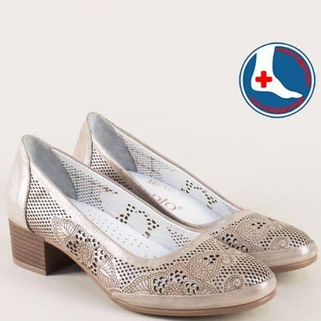 Кожени дамски обувки на нисък ток в цвят бронз nn800brz