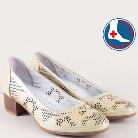 Анатомични дамски обувки от естествена кожа в златист цвят nn800zl