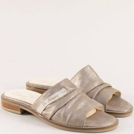 Златисти дамски чехли от есетствена кожа на равно ходило noiretzl