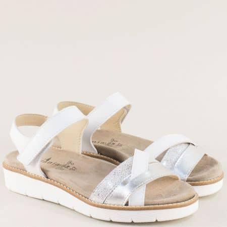 Бели дамски сандали от естествена кожа с лепка- Portania nora03b