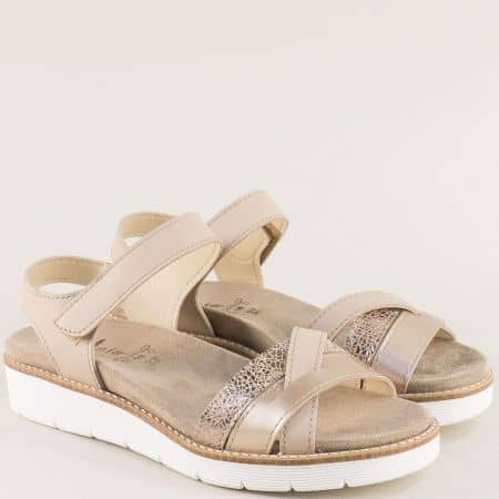 Бежови дамски сандали от естествена кожа- PORTANIA nora03bj
